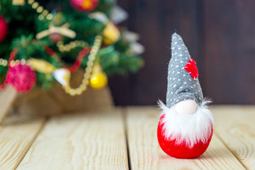 Christmas Background with Christmas Gnome and Christmas Fir Tree on the Background, Horizontal View