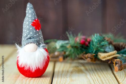 Christmas Gnome Decor.Christmas Gnome Decor With Christmas Green Fir On The