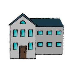 drawing big house and many windows vector illustration eps 10
