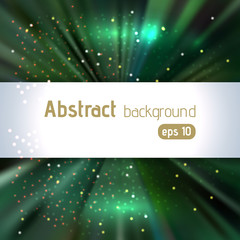 Dark green rays background with place for text. Abstract motion blur background with power explosion. Vector illustration