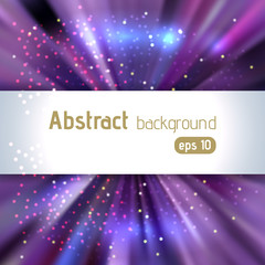 Abstract artistic background with place for text. Color rays of light. Original sparkle design. Pink, blue, purple colors.