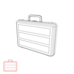 Suitcase. Isolated on white background. Vector outline illustrat
