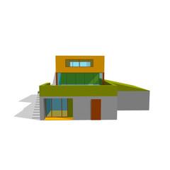 Modern house. Isolated on white. 3d Vector illustration.Front vi