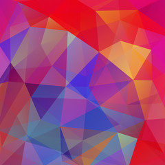 Background made of red, pink, yellow, blue triangles. Square composition with geometric shapes. Eps 10