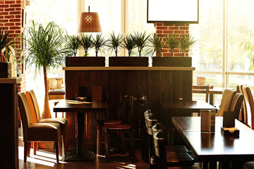 Interior of beautiful modern cafe