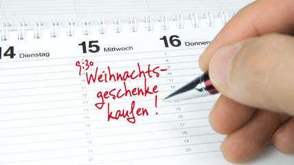 Weihnachtsgeschenke kaufen / Termin im Terminkalender / Terminplaner