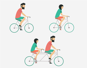 Young couple riding bicycle set. Summer travel