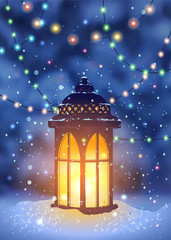 Vintage lantern and magical snowfall at the winter night spruce forest background. Hanging holiday lights for a Christmas party