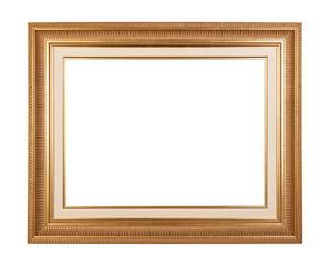 Empty golden vintage frame isolated on white background