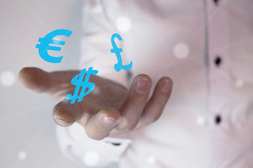 Currency symbols on businessman hand