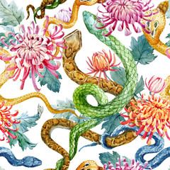 Watercolor snake and flowers pattern