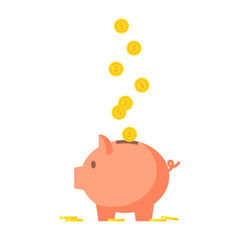 Pig piggy bank with coins vector illustration