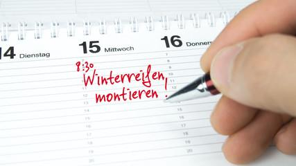 Winterreifen montieren / Termin im Terminkalender / Terminplaner