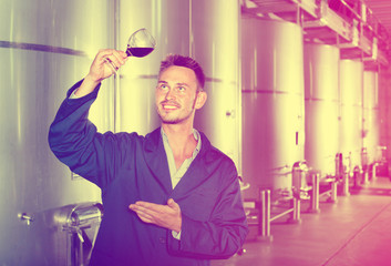Man worker  standing with glass of wine in fermenting section on