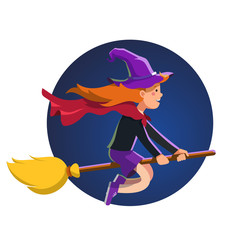 Magician girl flying fast at night on broom stick