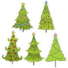 Set of doodle trees illustration. Festive background. Template for postcards, greetings, advertising. Colorful Christmas trees. 2017 new year.