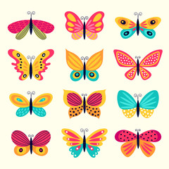 Set of illustrations illustration with butterflies. Freehand drawing