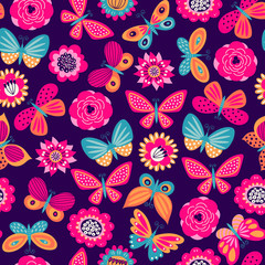 Seamless pattern with butterflies and flowers. Freehand drawing