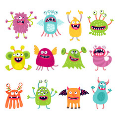 Set of illustrations with funny monsters. Cartoon