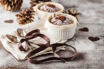 delicious Christmas cakes on the cake container