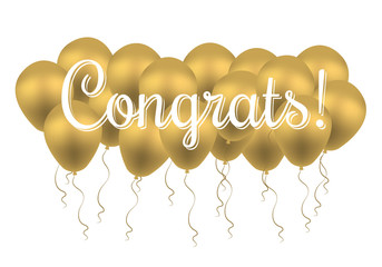 Congrats text. Congratulations Banner with golden Balloons. Win, Birthday Party, Sale, Opening, Holiday & Kid Design. Congrats premium Invitation, Banner Template. Lettering Typography. Greeting Card.