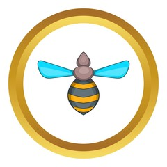 Bee vector icon in golden circle, cartoon style isolated on white background