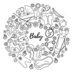 Cartoon hand drawn Doodle Baby vector illustration.