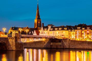 View at the Dutch Sint Servaas bridge in Maastricht