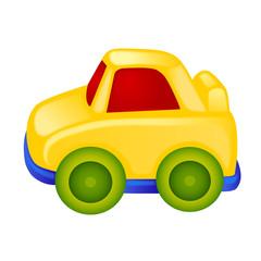 Yellow toy car illustration, isolated on white background