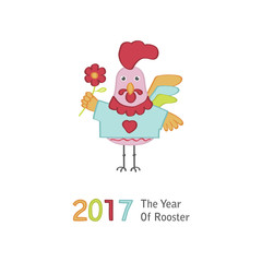 Cute cartoon rooster character illustration. Calendar template for creating a calendar with funny cocks. Symbol of 2017 red rooster Chinese New Year