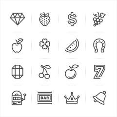 Slot Machine icons with White Background