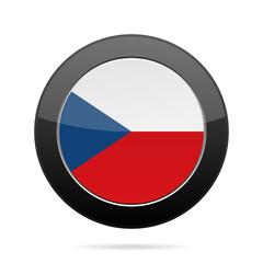 Czech Republic flag. Shiny black round button.