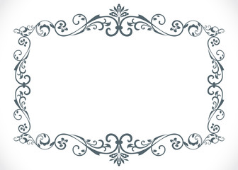 Black and white floral vintage frame with copy space vector temp