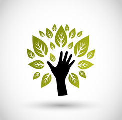 Hand with leaves icon vector