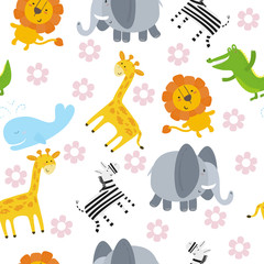 Cute hand drawn funny animals. Seamless pattern.