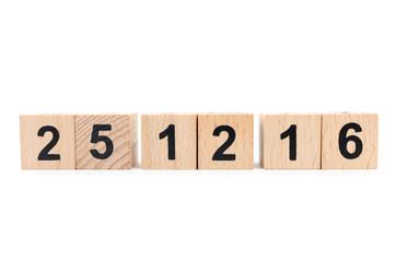 Wooden block calendar with 25 December 2016