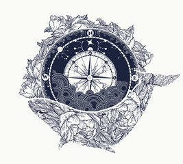 Antique compass and floral whale tattoo art