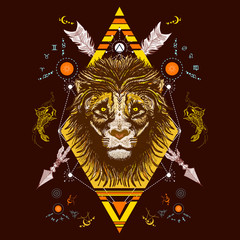 Lion color tattoo tribal style, t-shirt design vector
