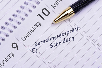 Beratungsgespräch wg Scheidung als Eintrag im Terminkalender