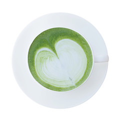 Top view of Japanese matcha green tea latte cup with saucer isol