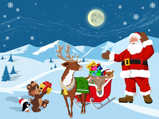 Gifts from Santa Claus. Vector illustration