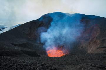 Active lava eruption on the Tolbachik volcano, Kamchatka, Russia, Eurasia