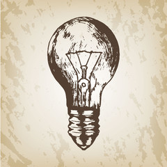 Hand drawn vector illustration - realistic light bulb sketch. Brown paper background.