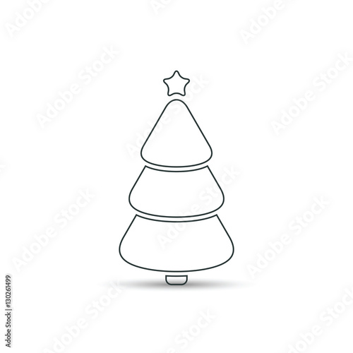 Christmas Tree Outline Icon Vector Simple Design Black Symbol Of