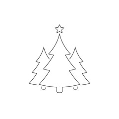 Christmas trees outline icon, vector simple design. Black symbol of fir-tree, isolated on white background.