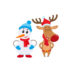 Snowman in hat and mittens and Christmas reindeer in red scarf standing together, cartoon vector illustration isolated on white background. Deer and snowman, Christmas attributes, decoration elements