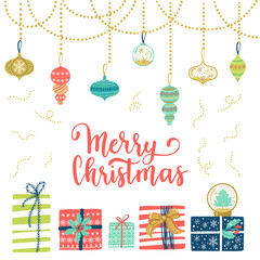 Merry Christmas greeting card. Vector winter holiday background with hand lettering calligraphy, gift, confetti, garland elements.