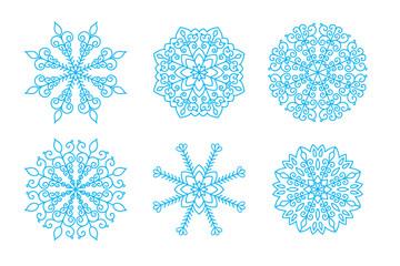 Vector snowflakes icon set for Christmas design.