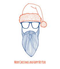 Stylish Santa. Christmas card.