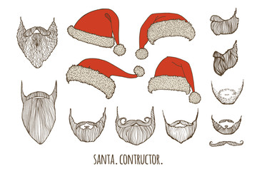 Stylish Santa. Constructor. Hats and beards. Set of vector hand-drawn illustrations.